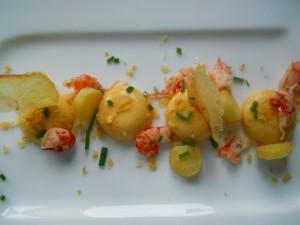 Panna cotta aux crustacés et cumin, croustillants de pommes de terre