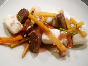 Eglefin / boudin noir/ carotte / navet